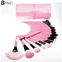 Pro 32pcs Pink Makeup Brush Set Synthetic Hair Powder Blush Contour Foundation Eyeshadow Eyebrow Makeup Brushes