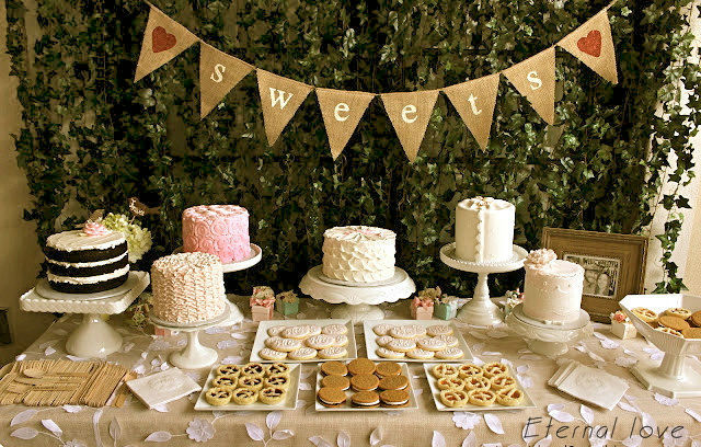Sweets Burlap Banner Wedding Reception Dessert Table Cake