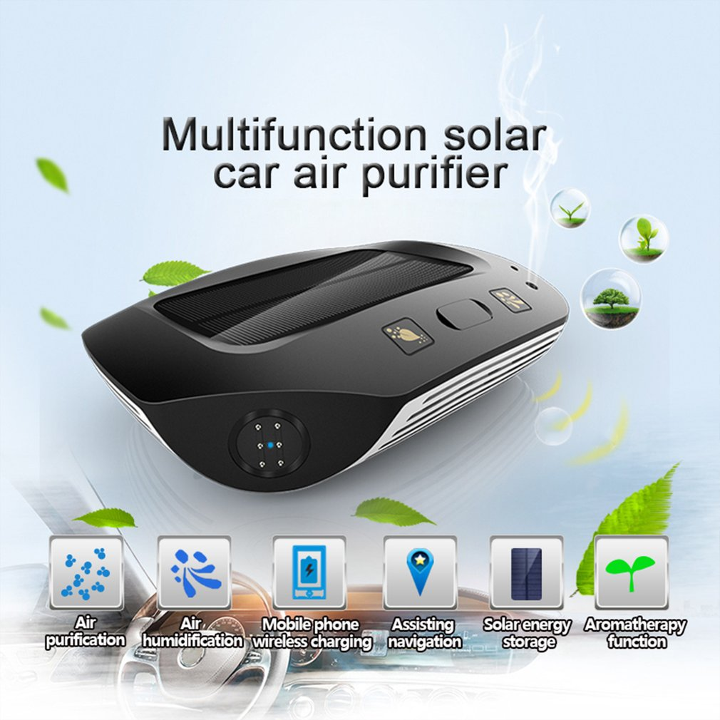 Black Solar Smart Car Air Purifier Aromatherapy Diffuser Anion Humidifier Formaldehyde Odor Eliminator Wireless Charger cheerlink mini solar power line walking smart car purple black