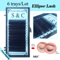 6trays/Lot,saving time,high-quality  mink oval flat eyelash extension ,ellipse lashes,groove lashes