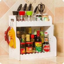 Wood Board Waterproof Seasoning Shelf Cosmetic Storage Rack Double Layer Kitchen Rack