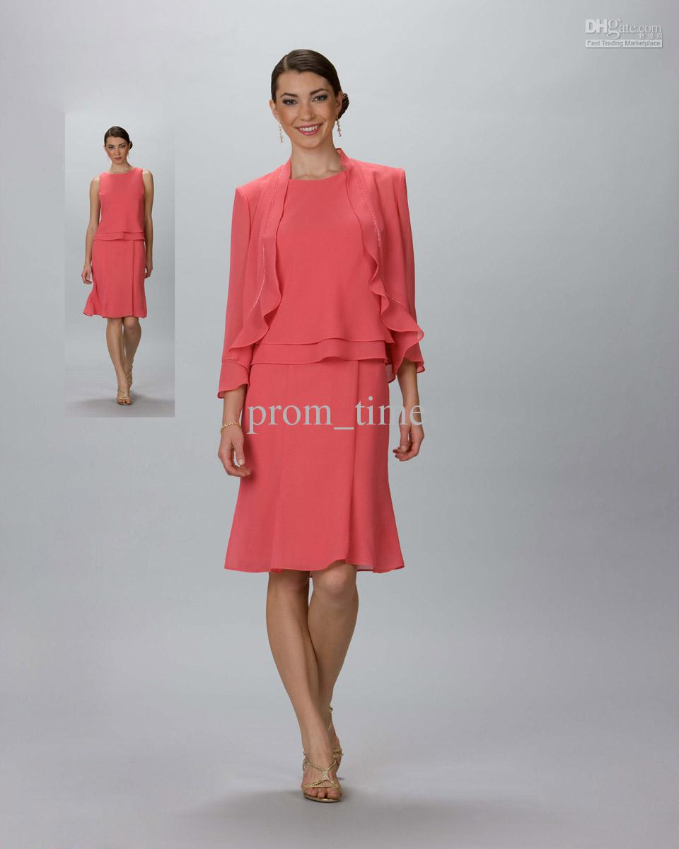 3249e3214fa 2015 Sexy Chiffon Coral Knee Length Mother of the Bride Dresses Junior Mother  Dress with Jackets