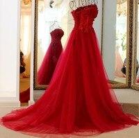 Элегантные длинные платья Для свадебной вечеринки Красный Тюль бретелек Аппликация Кружева Вечернее платье longue реальное изображение