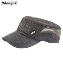 XdanqinX Summer Mens Cap Breathable Mesh Flat Top Hat Ventilation Military Hats Adjustable Size Brand Caps For Men And Women