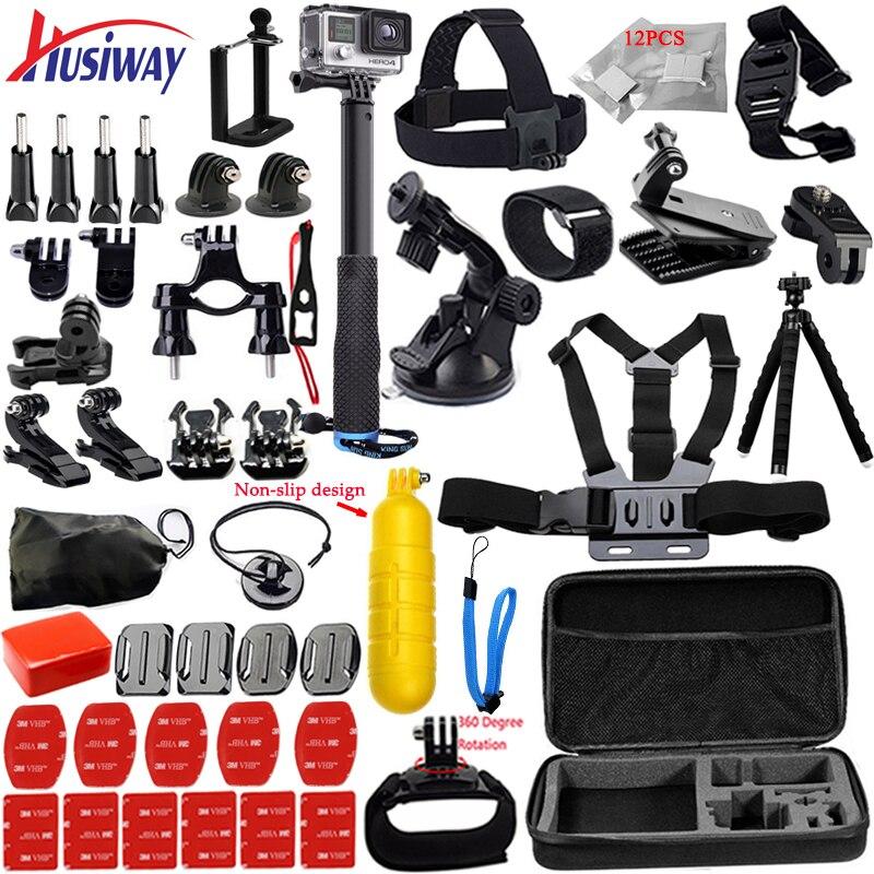 Husiway Accessories Kit for Gopro Bundle Set for Go pro Hero 6 5 4 3 kit for SJCAM / xiaoyi yi / eken h9 camera 12K