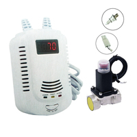 Security Combustible LPG Gas Leak Detector Alarm With Electromagnetic Solenoid Value For Gas Leakage Auto Shut