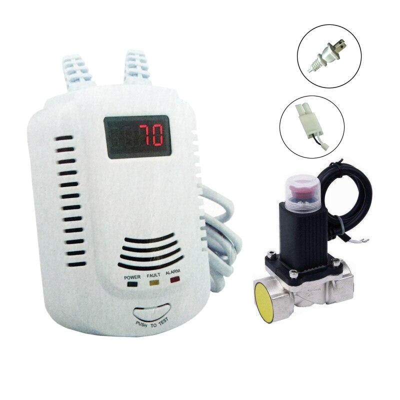 Seguridad Combustible GLP Detector de fugas de Gas con electromagnética solenoide valor para fugas de Gas apagado automático