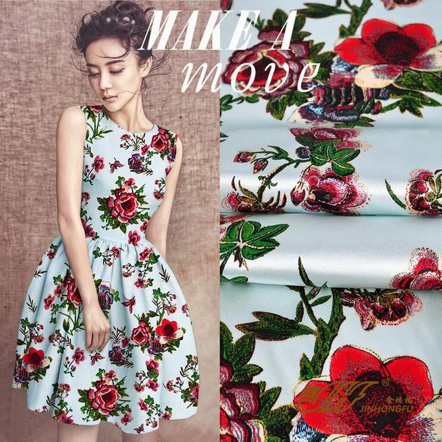 3ccf19808dc Europe and silk fabric cheongsam Han clothing dress fabric printing stretch satin  dress embroidered flowers Imitation