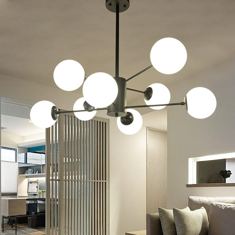 Style Glass Ball Chandelier Light Lighting Hotel Lobby Restaurant Living Room Nordic Retro Metal Hanging Lamp Pl661 In Pendant Lights From