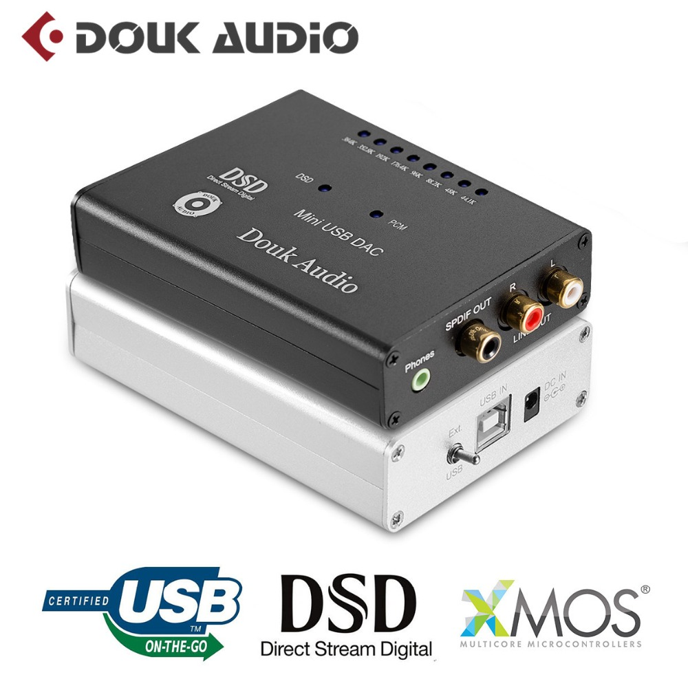 2018 New Douk Audio Mini DSD1796 + XMOS-U8 384K / 32bit USB DAC Audio Decoder HiFi Forstærker Gratis Levering