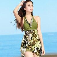 New Sexy Padded Halter Skirt Swimwear Women One Piece Swimsuit Beachwear Swim Dress Plus Size Swimwears