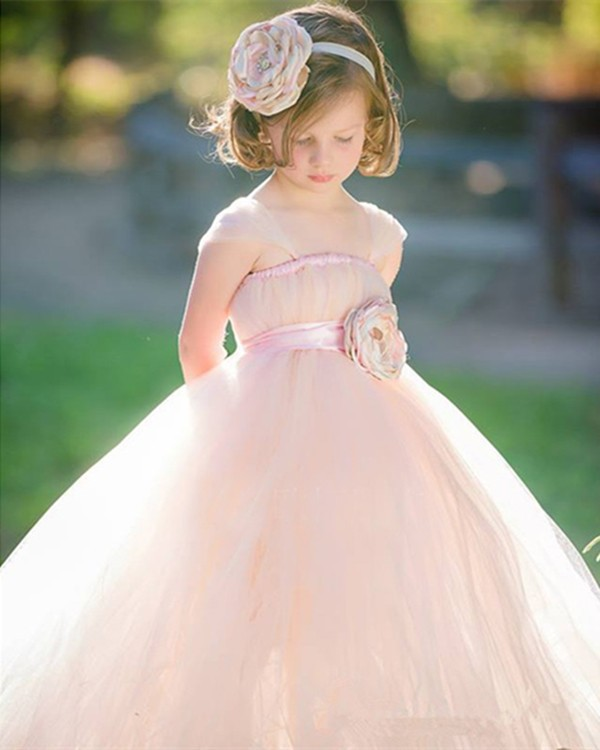 Pretty Sweet Princess Flower Girl Dresses Pink Tulle Dress For Girls