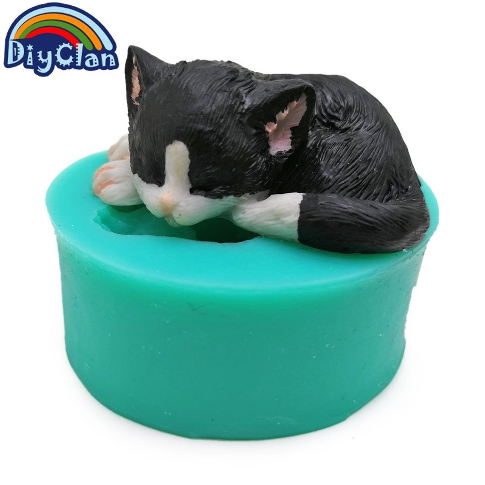3D gatitos de silicona fondant moldes de pastel encantador gato - Cocina, comedor y bar - foto 3