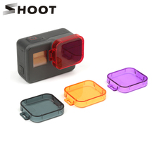 SHOOT 6 Colors Diving Filter for GoPro Hero 7 6 5 Black Camera Cover Lens Cap Red Gray Purple Orange Filter For Go Pro Accessory