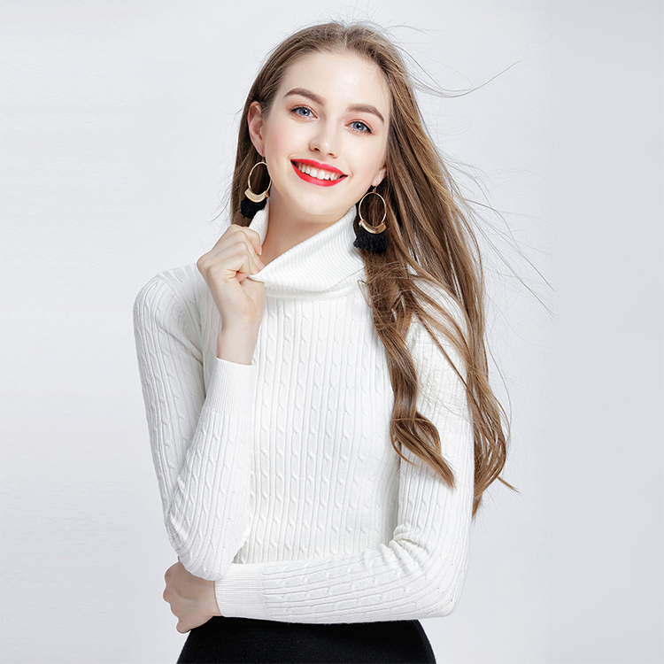 Twist Women's Thick Cashmere Elastic Sweaters And Pullovers Autumn Winter Sweater Turtleneck Female Wool Knitted Brand Pullover