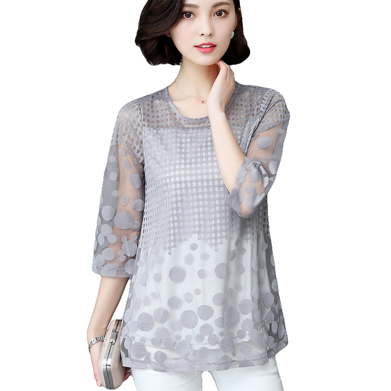 Womens Blouse Shirt Spring Summer Fashion Elegant Lace Sexy Tops And Blouses Plus Size New Sexy Loose  3/4 Sleeve Women New