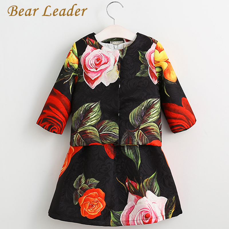цена  Bear Leader Girls Clothes Brand Baby Clothing Sets Kids Clothes New Spring Jackets Rose Print Girl Coat+Dress for Girl 2Pcs Suit  онлайн в 2017 году