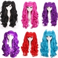 Hot Sale 60cm Long Blue Black Purple Curly Lolita Cosplay Wigs With Two Ponytails 7 Colors