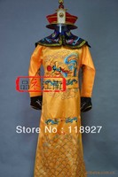 Золото Royal китайский император традиционный Древний костюм Для мужчин атласной этап вышивать платье для сцены платье Карнавальная одежда
