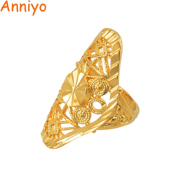 Anniyo Gold Ring for Women Gold Color Africa Ring Ethiopian Jewelry Arab India N