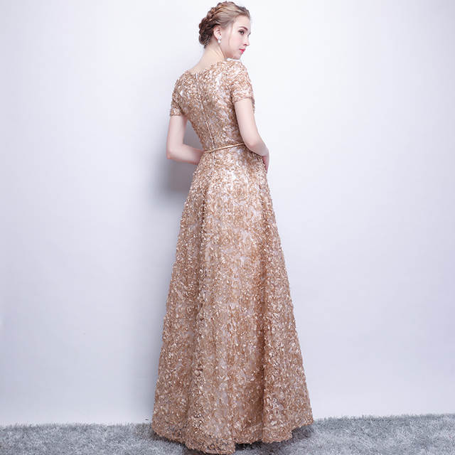 43ae7de0e4c39 US $90.0 |SSYFashion New Elegant Khaki Lace Evening Dress The Bride Banquet  Simple Floor length Prom Dress Custom Made Party Formal Gown-in Evening ...