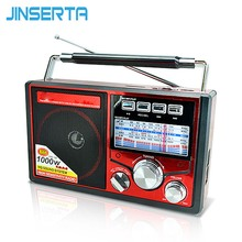 JINSERTA FM/AM/SW Retro Radio World Band Receiver MP3 Player with Flashlight Recording Function Support TF Card U Disk Play