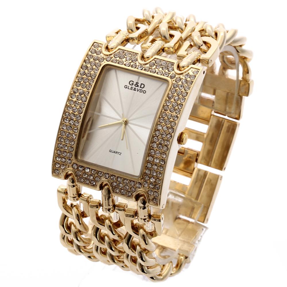 Prix pour G & D Top Marque De Luxe Femmes Montres À Quartz Montre Or Relogio Feminino Saat Robe Montre Relojes Mujer Lady Horloge cadeaux Gelée