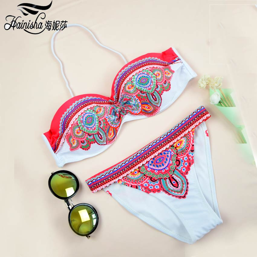 HAINISHA Sexy Bikini Women Swimsuit Push Up Frint Floral Solid Swimwear Mujer Low Waist Bandeau Bikini Set 2018 New Bating Suit
