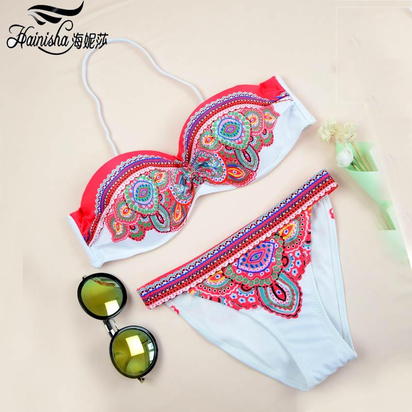 HAINISHA Sexy Bikini Women Swimsuit Push Up Frint Floral Solid Swimwear Mujer Low Waist  ...