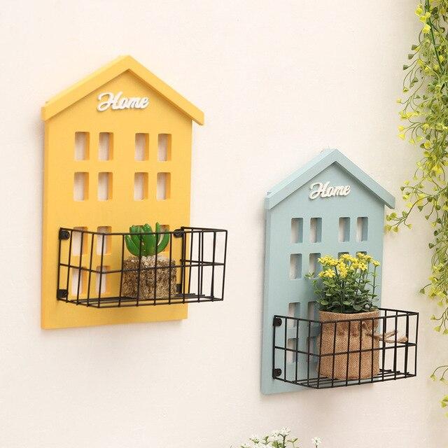 Creative Artware Wood Wall Iron Storage Rack Solid Wood Flower Stand ...