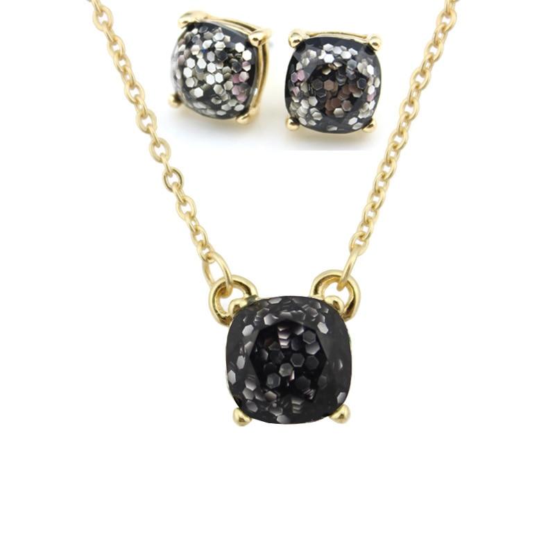 Moda ks altın küçük kare opal glitter kolye küpe setleri - Kostüm mücevherat - Fotoğraf 2