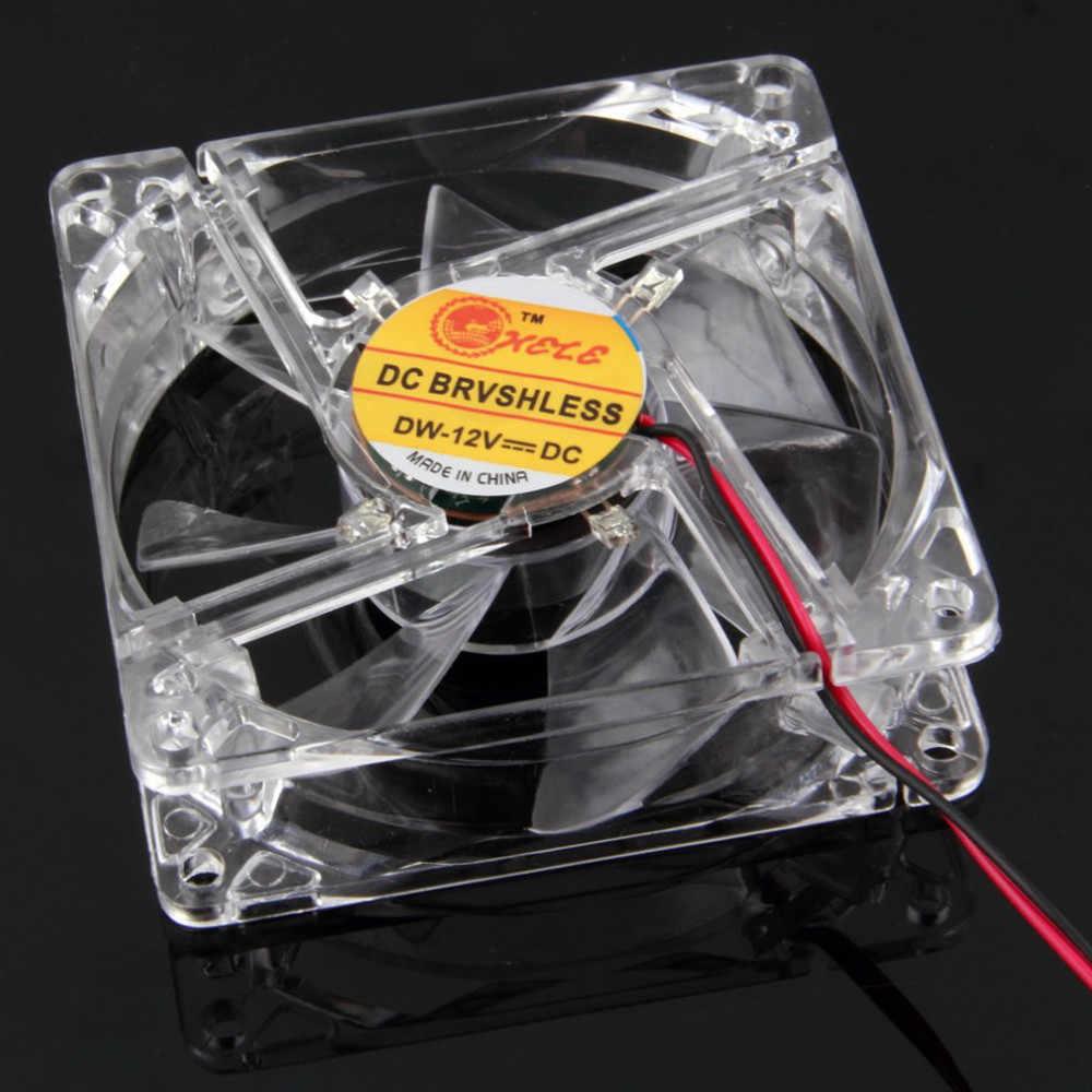 Mokingtop 2018 Best Computer Cooling Device Colorful Quad 4-LED Light Neon Clear 80mm PC Computer Case Cooling Fan Mod#25