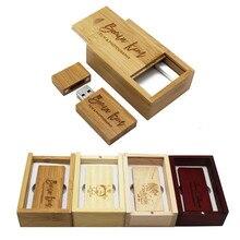 BiNFUL деревянный + коробка Пользовательский логотип 64 ГБ USB 2,0 usb флэш-накопитель 4 ГБ 8 ГБ 16 ГБ Флешка 32 Гб usb флешка