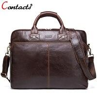 CONTACT'S Натуральная кожа Мужская сумка дизайнерские сумки через плечо сумка тоут сумка новая деловая сумка 15,6 'ноутбук мужской портфель