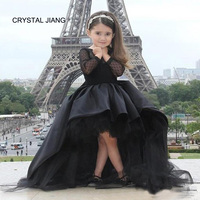 CRYSTAL JIANG 2018 Jewel Collar Black Lace Long Sleeves Custom made Front Short Long Back fashion Flower Girl Dresses Party