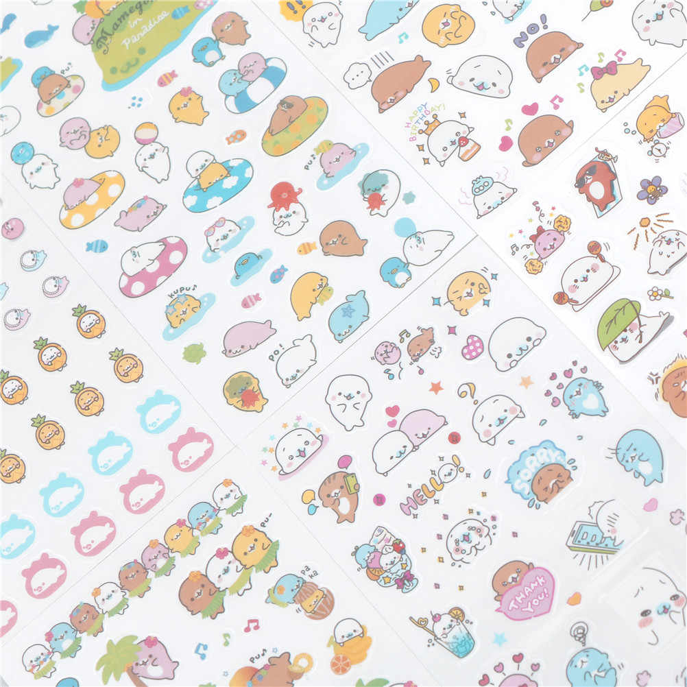 יפני creative חופשה קטן ים האריה קריקטורה פנים מדבקות DIY קישוט מתכנן יומן אלבום מדבקות 6 גיליון/חבילה
