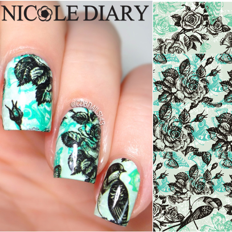 Nicole Diary 12 Nail Art Water Decals Natural Pattern