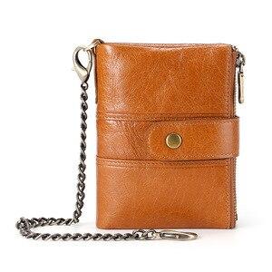 Кошельки из натуральной кожи для мужчин: Лучший двойной кошелек с блокировкой RFID на молнии, мягкий, тонкий и коричневый, черный, красный кофе
