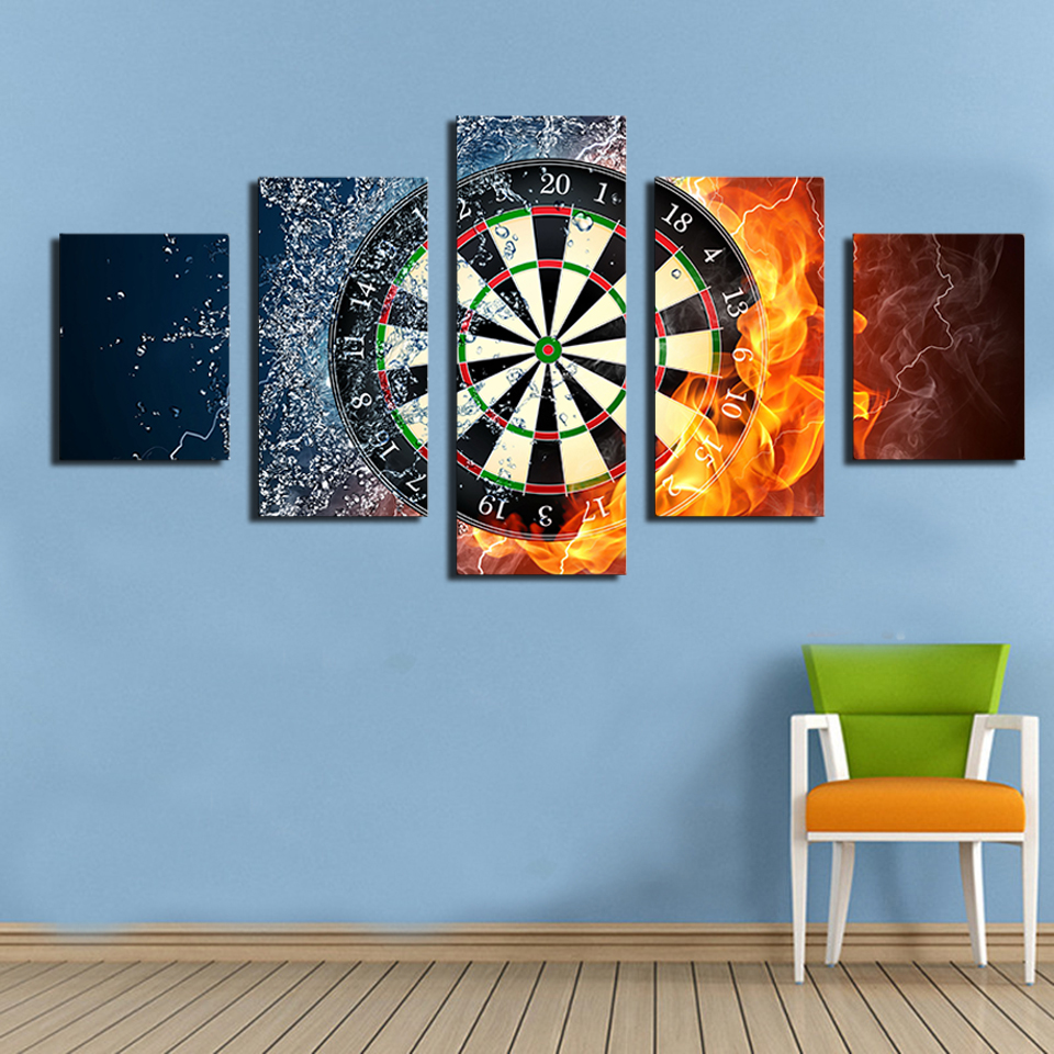 OKHOTCN 5 Piece Darts Wheel Target Fire Water Posters Home Wall Decor Picture Sports HD Print On Canvas Painting Framed