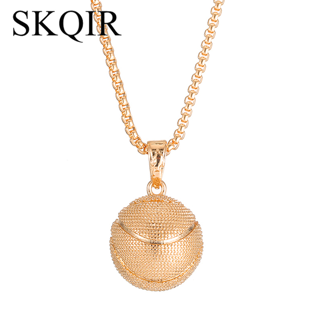 SKQIR Fashion 3D Basketball Fans Pendant Necklaces Sports Jewelry Gold  Stainless Steel Chain For Men Women Statement Necklace ad926c4143