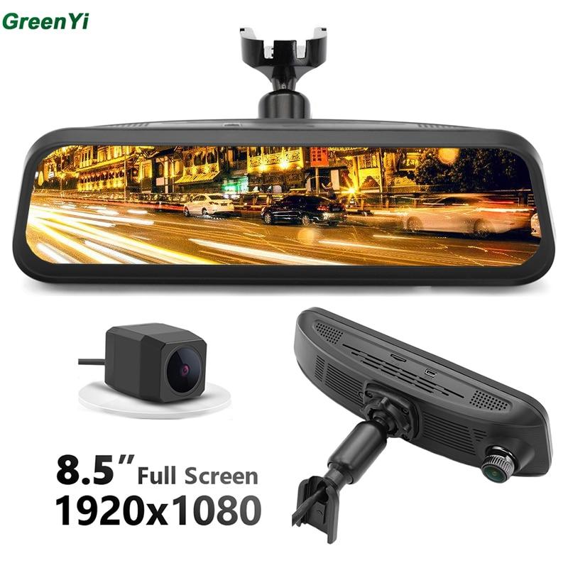 GreenYi NT96663 Geste Contrôle Voiture DVR Caméra OEM Montage Vapeur Vidéo Miroir Moniteur HD 170 angle 1080 Enregistreur Double Caméra