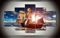 Framed Modern Wall Art Home Decoration Printed Oil Painting Pictures HD Canvas Prints Sailing Boat On