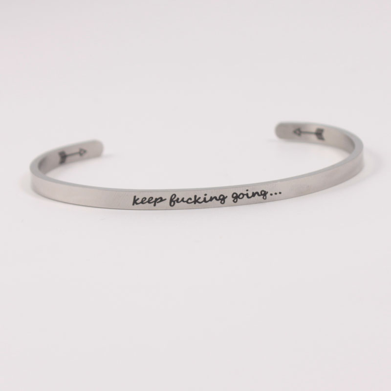 FOREVER FRIENDS 4mm Quotes Mantra Bracelets 316L Stainless Steel Open Cuff Bangle Women Female Inspirational Jewelry Bracelet in Bangles from Jewelry Accessories