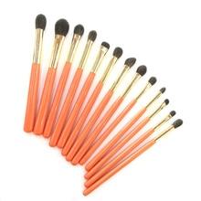 Fatto A Mano professionale di Trucco Pennelli Kit Morbido Blu Scoiattolo di Capra Dei Capelli Ombretto Blending Brush Maniglia Arancione Make Up Brush Set