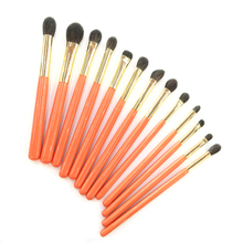 Professionelle Handgemachte Make Up Pinsel Kit Weiche Blau Eichhörnchen Ziegenhaar Lidschatten Blending Pinsel Orange Griff Make Up Pinsel Set