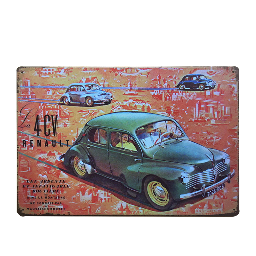 Buy shabby chic car vintage tin sign for Plaque murale decorative metal