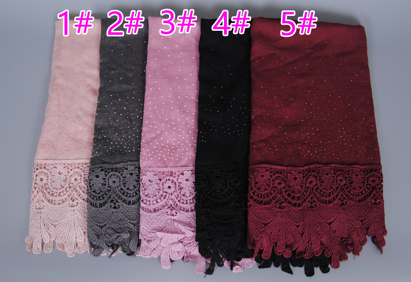 11 color Luxury diamond cotton Fashion lace scarf hijab floral glitter beach long muslim autumn wrap