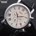 Homens esporte marca de relógios mecânicos Jaragar automático 6 mãos dos homens genuínos relógios pulseira de couro preto relógios de pulso para homens