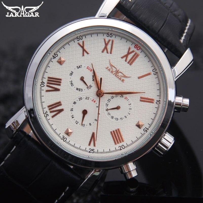men mechanical watches Jaragar brand sport men s automatic 6 hands genuine leather strap watches black