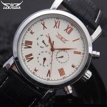 Hommes mécanique montres Jaragar marque de sport hommes automatique 6 mains véritable bracelet en cuir montres noir montres pour hommes